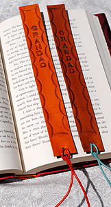 Scalloped Personalised Leather Bookmarks - office & study