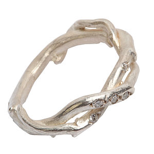 Silver Two Strand Diamond Set Ring - women's jewellery