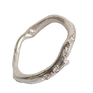 Silver And Diamond Root Strand Ring - rings