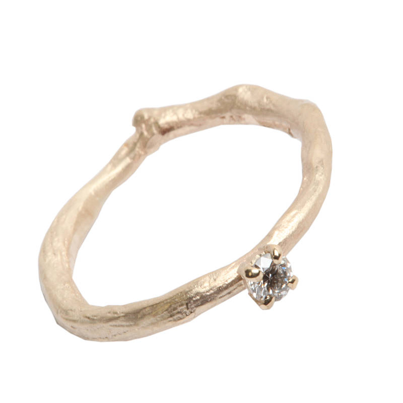 Gold Band Diamond Solitaire Ring