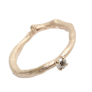 Gold Band Diamond Solitaire Ring - rings