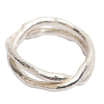Sterling Silver Double Band Kiss Ring