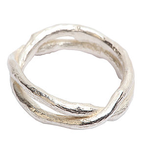 Sterling Silver Double Band Kiss Ring - women's jewellery