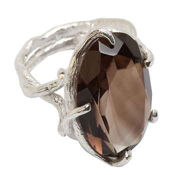 Sterling Silver Smoky Quartz Cocktail Ring