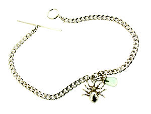 Silver Spider And Green Quartz Bracelet