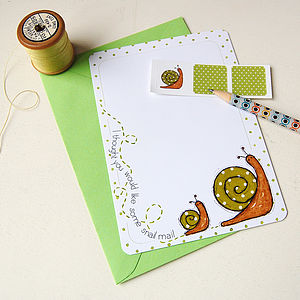 Set Of Six Snail Notecards - toys & games
