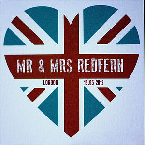 Personalised Union Jack Couples Card