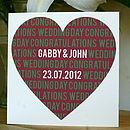 Personalised Wedding/Anniversary Heart Card