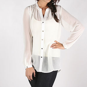 Libby Sheer White Shirt - blouses & shirts