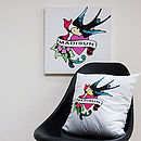 Personalised Vintage Tattoo Name Bird Canvas