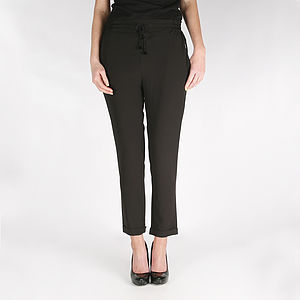 Muus Black Drawstring Trousers - trousers & leggings