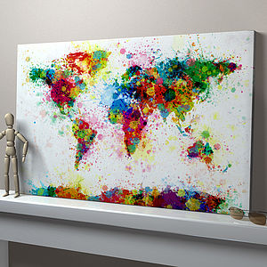 Paint Splashes World Map Art Print - view all gifts for her