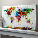 Paint Splashes World Map ready-to-hang canvas print