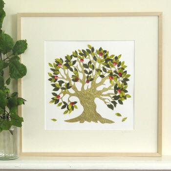 Personalised Wedding Tree Embroidered Artwork