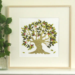 Personalised Wedding Tree Embroidered Artwork - baby's room