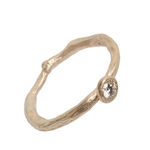 Gold Diamond Solitaire Ring - rings