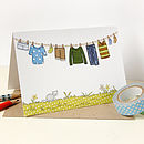 Children's Blue Washing Line Card