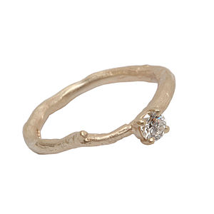 Gold And Diamond Solitaire Ring - rings