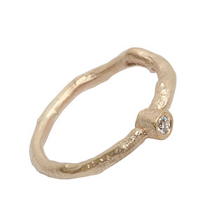 Diamond Solitaire Gold Ring - rings