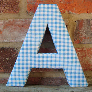 Blue Check Fabric Alphabet Wall Letters