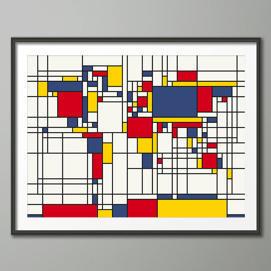 Mondrian Inspired World Map Art Print By Artpause