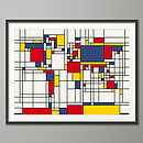 Mondrian Inspired World Map Art Print