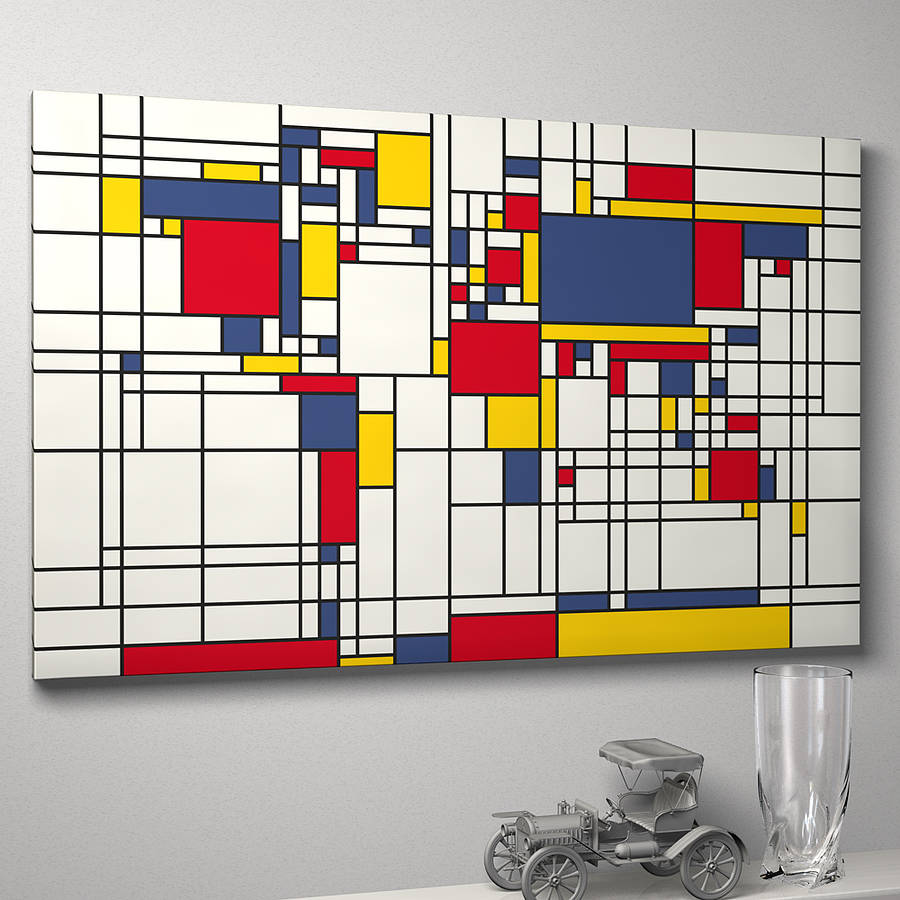 mondrian inspired world map art print by artpause. Black Bedroom Furniture Sets. Home Design Ideas