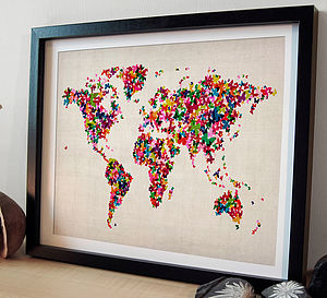 Butterflies Map Of The World Art Print - canvas prints & art