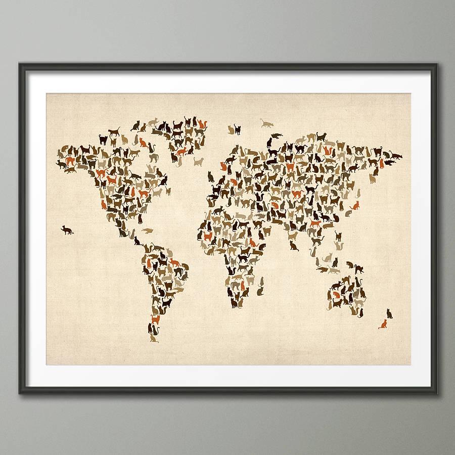 cats world map art print by artpause | notonthehighstreet.com