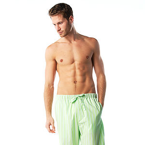 Lime Green Striped Pyjama Bottoms - men's fashion