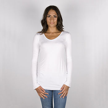 Supersoft Jersey V-Neck Tee White