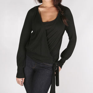 Dago Black Silk Blend Wrap Knit - women's fashion sale