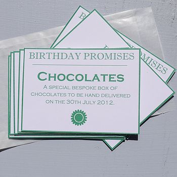 Personalised Birthday Promises Token Set