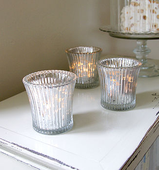 Silvered Fluted Glass Candleholder