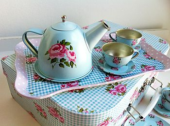 Children's Retro Rose Floral Tea Set