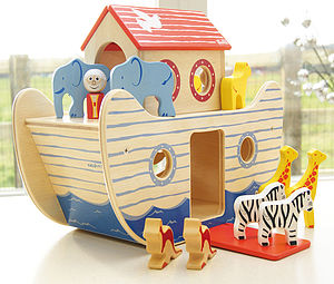 Wooden Noah's Ark Toy - christening gifts