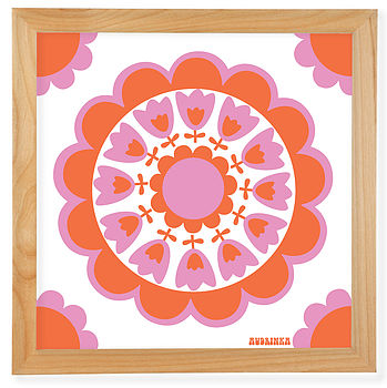 pink /orange retro flower