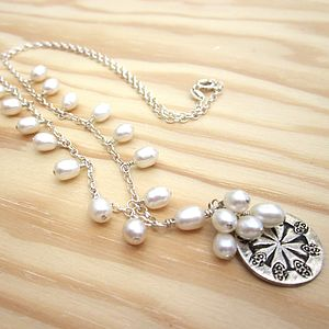 Coin And White Pearl Necklace - necklaces & pendants