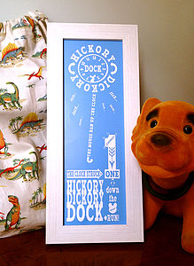 Hickory Dickory Dock Print - pictures & prints for children