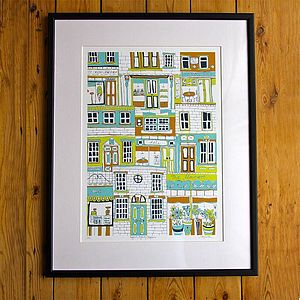 Higgledy Piggledy Shopfronts Screen Print - architecture & buildings