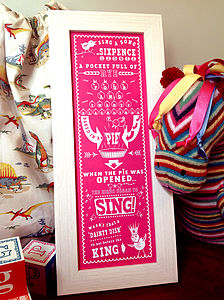 Sing A Song Of Sixpence Print - pictures & prints for children