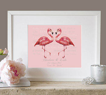 Personalised 'Our Song' Wedding Flamingo Art