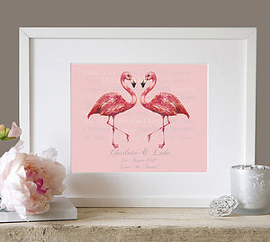 Personalised 'Our Song' Wedding Flamingo Art - posters & prints