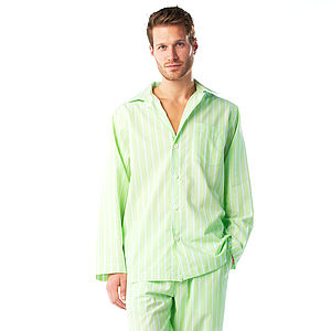 Men's Lime Green Stripe Pyjamas - men's fashion