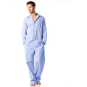 Men's Cotton Blue And White Stripe Pyjamas - nightwear