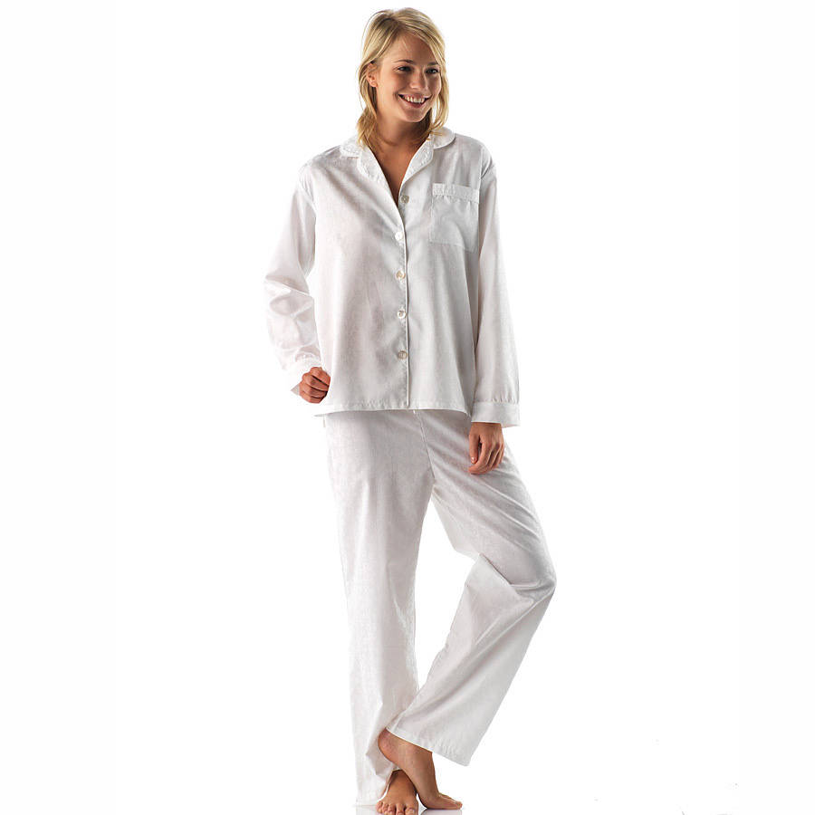 44114e8023 long   reg leg luxury white cotton pyjamas by pj pan ...