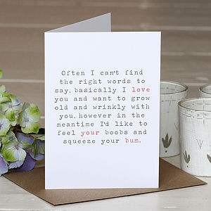 'Love Your Bum' Greetings Card - valentine's cards