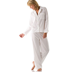 Long & Reg Leg Women's White Cotton PJs - lingerie & nightwear