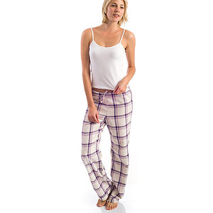 Women's Brushed Cotton Purple Pyjama Bottoms - women's fashion