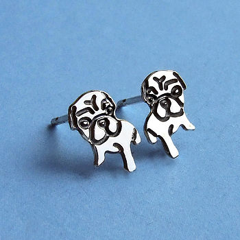 Sterling Silver Watching Pug Earrings